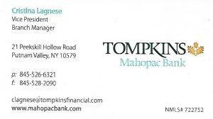 Cristina Lagnese Tompkins Mahopac Bank business card.