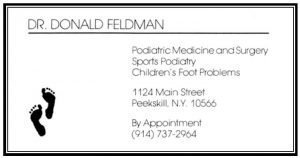 Dr. Donald Feldman Business Card