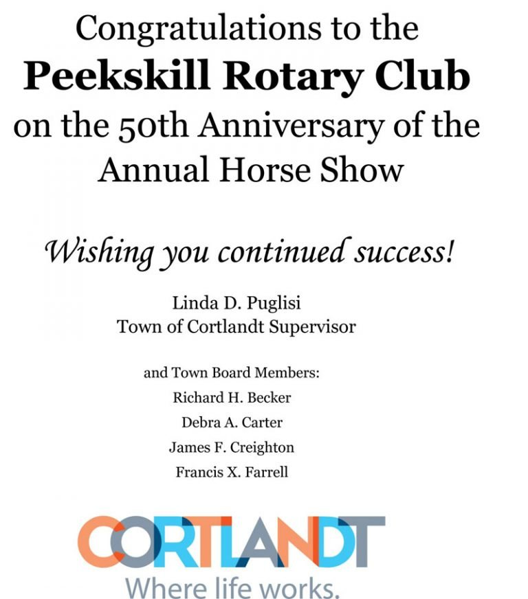Congratulations to the Peekskill Rotary Club from the Town of Cortlandt.