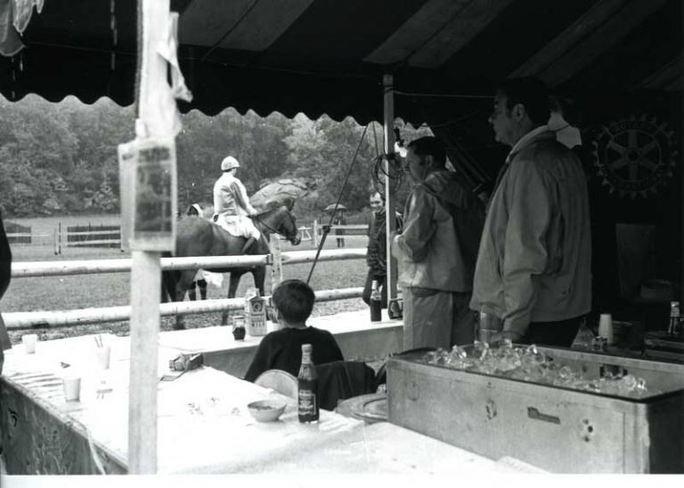 Old black and white picture of our food tent.