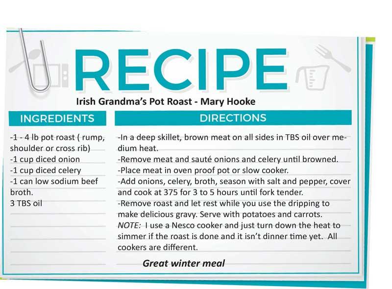 Grandma's Irish Pot Roast Recipe Card