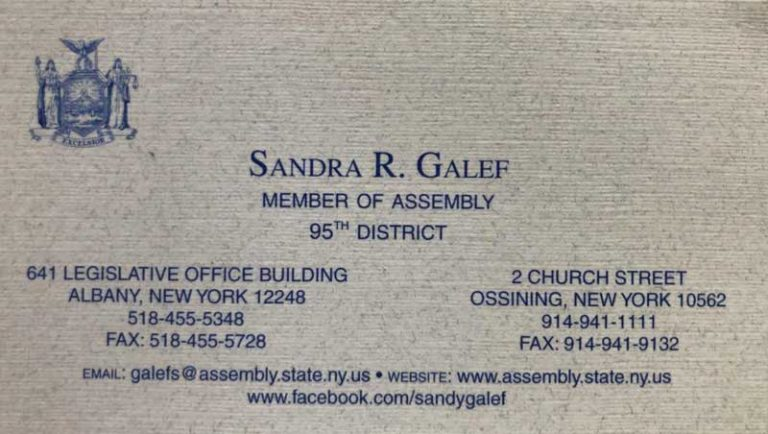 Sandra R Galef Member of Assembly 95th District business card