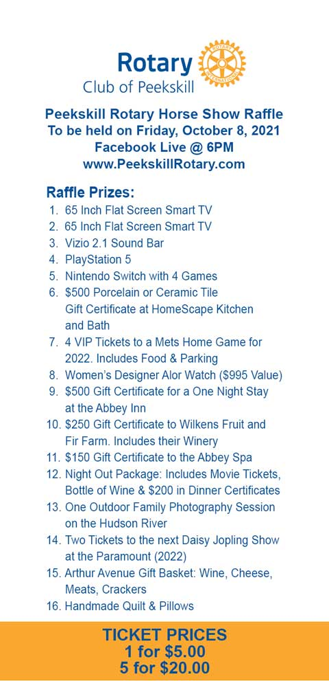 2021 Raffle Ticket with 16 prizes listed.