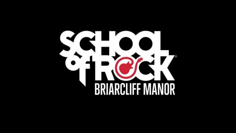 School of Rock Briarcliff Manor logo with guitar.